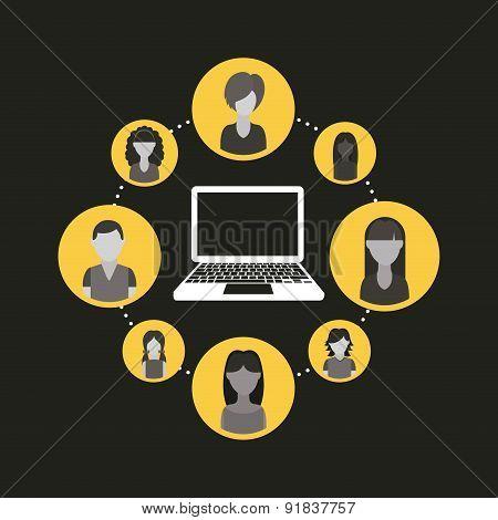 Social network design over black background vector illustration
