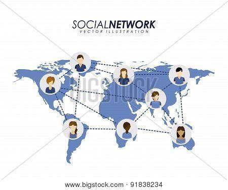Social network design over white background vector illustration