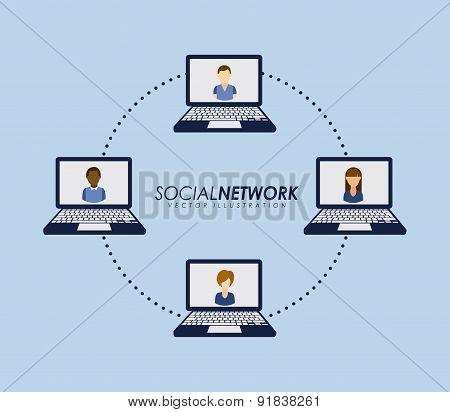 Social network design over blue background vector illustration