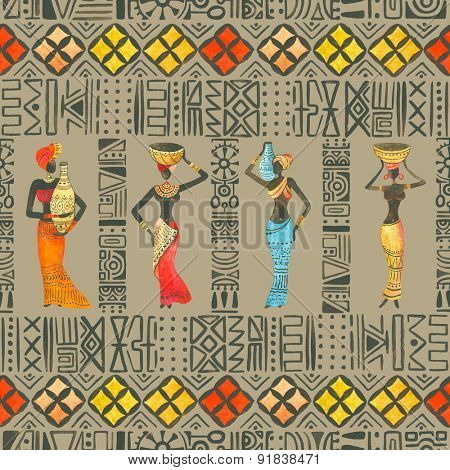 Seamless watercolor pattern pattern with beautiful African woman.
