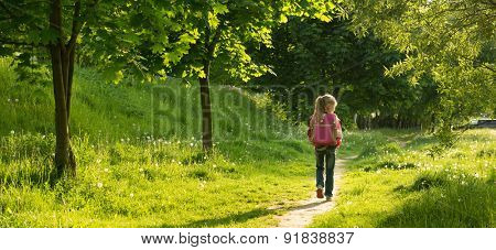 happy little girl go to school through the forest. back view