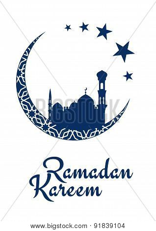 Ramadan Kareem design with mosque and moon