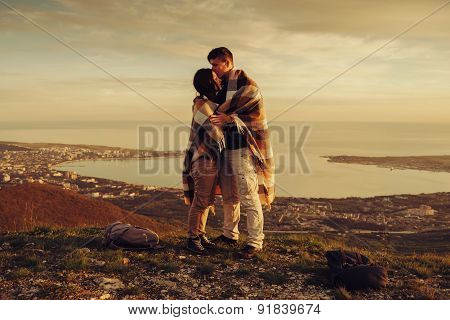 Loving Couple Standing Outdoor At Sunset