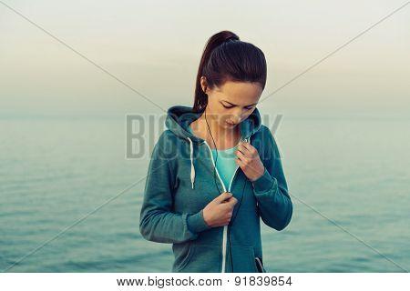 Sportswoman In Headphones Workout Outdoor