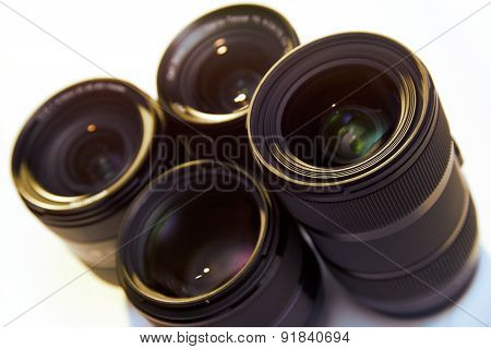 Studio Shot Of Dslr Lenses Isolated On White Background