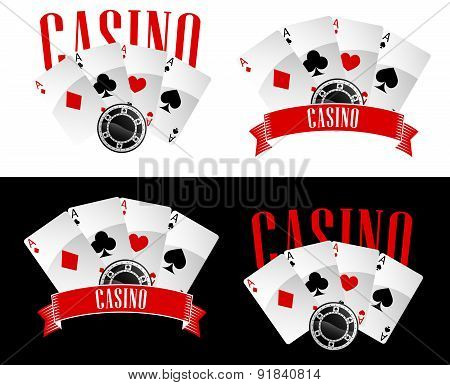 Casino icons with playing cards and chip