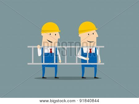 Two engineers in overallses carrying ladder
