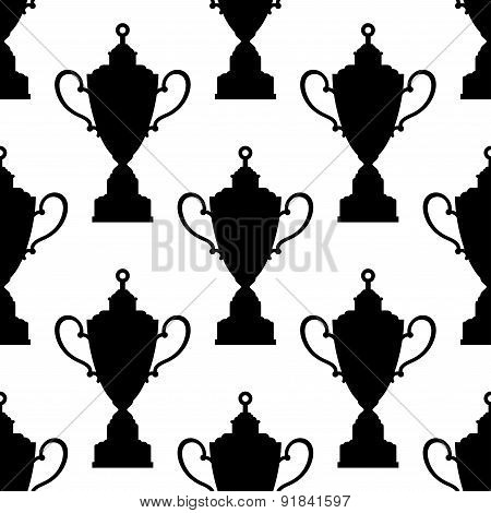 Trophy cups with decorated tops seamless pattern