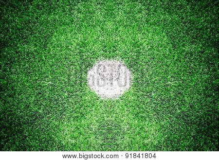 Closeup Shot Of Marking On Center Of Soccer Field