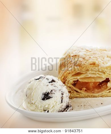 Apple Strudel with Ice Cream in a White Bowl