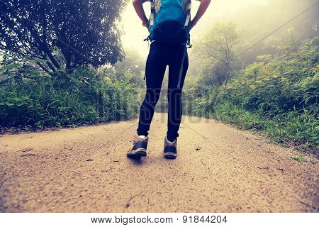 woman hiker legs hiking on forest trail