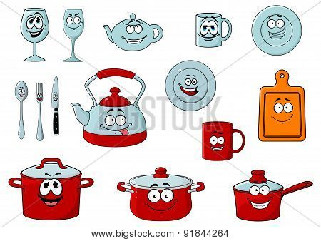Cartoon smiling kitchenware and glassware
