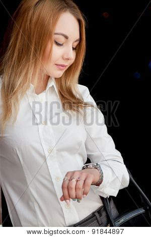 Beautiful Girl Looking At Watch
