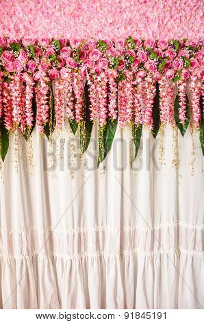 Colorful Backdrop Pink Rose Flowers Ready For Wedding Ceremony.