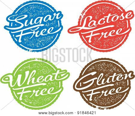 Food Allergen Stamps - Sugar, Lactose, Wheat & Gluten Free