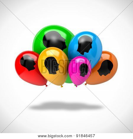 Bunch Of Balloons Cloud Computing Concept