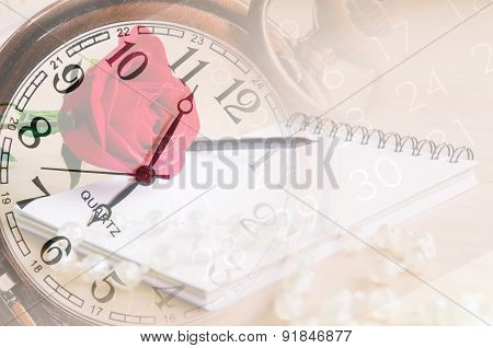 Vintage Clock Fade On Red Rose, Diary And Number On Calendar Background.