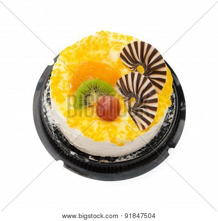Top View Yummy Cake On White With Grape Orange Kiwifruit And Chocolate On Top, Clipping Path Include