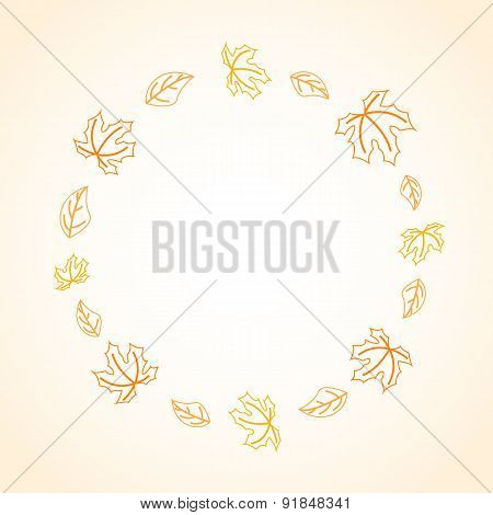 Autumn frame with contoured leaves
