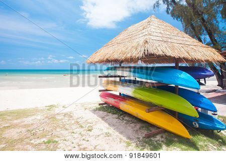 canoe shelf on the tropical beach