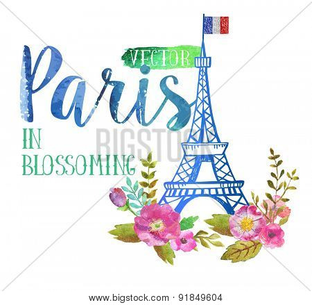 Vector greeting card from Paris in blossoming. The watercolor art paint on white background