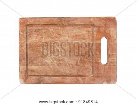 Used Wooden Chopping Board Isolated