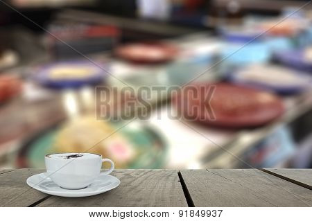 Defocus With Terrace Wood And Cappuccino Coffee With Sushi On Co