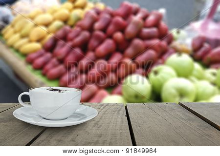 Defocus With Terrace Wood And Cappuccino Coffee In Fruit Market