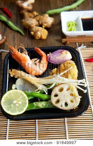 Traditional Japanese tempura and vegetables
