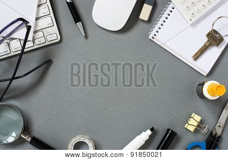 Scattered Office Supplies With Keyboard And Mouse