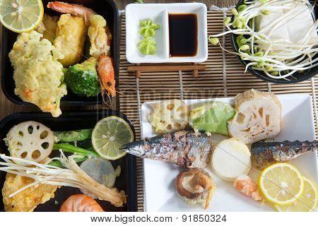 Traditional Japanese seafood tempura