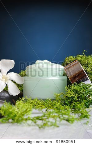 Cream Jar Algae Vertical View Blue Background