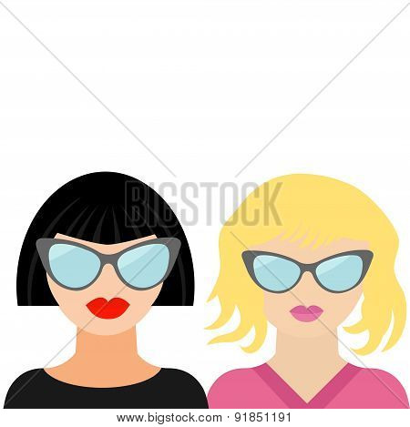 Fashion Blond Brunet Woman Face With Sexy  Lips, Sunglasses Best Friends Flat Design