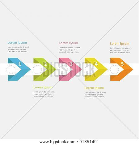 Infographic Five Step With Ribbon Arrow Dashed Circle And Text. Template. Timeline Flat Design.