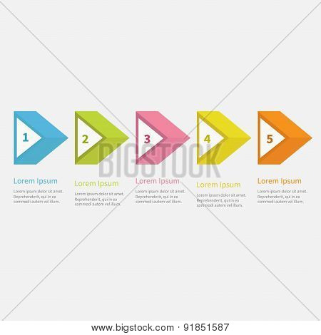 Infographic Five Step  With 3D Triangle Arrow And Text. Template. Timeline Flat Design.