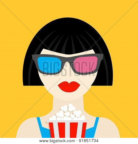 3D Glasses And Big Popcorn. Brunet Girl At The Cinema Theatre Flat Dsign Style Icon.