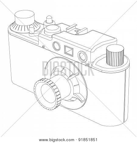 Retro Old Photo Camera On A White Background