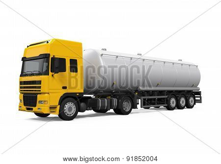Yellow Fuel Tanker Truck