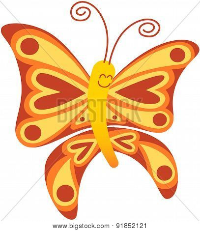Beautiful red butterfly smiling and floating