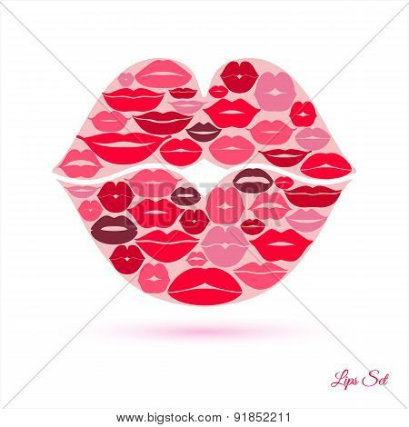 Lips In Lips Abstract Background