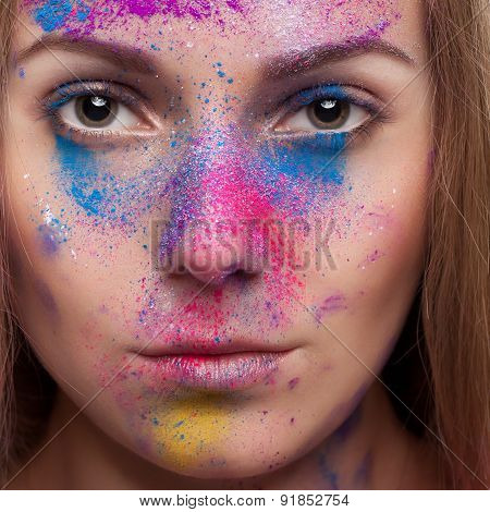 Girl With Colours Powder Fashion Make Up