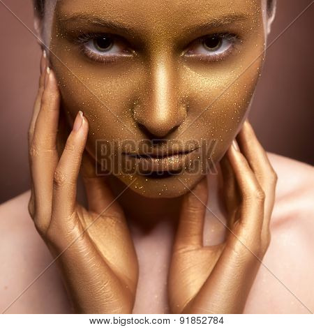Woman With Art Fashion Make Up On Face