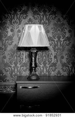 Retro Lamp On Blue Rococo Background