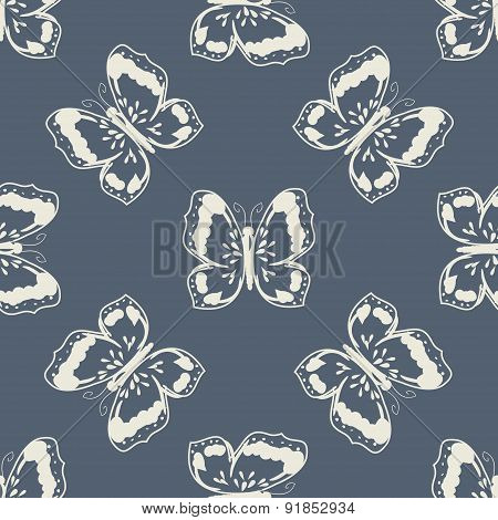 Butterflies silhouettes vintage pattern
