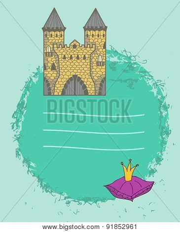 Background With Ancient Doodle Castle And Place For Text