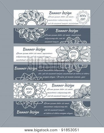 Set Of Banners With Geometric Floral Design
