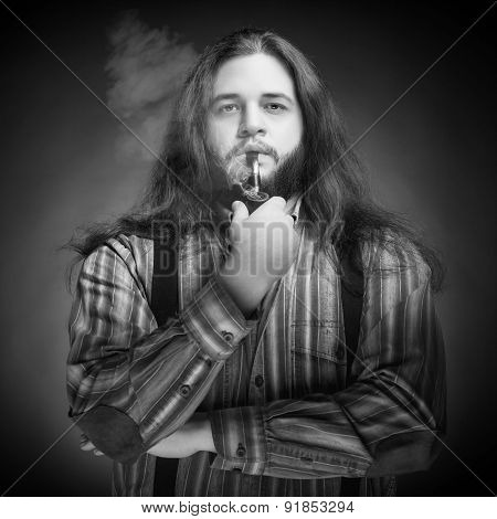Men With Long Hairs Smoking Pipe