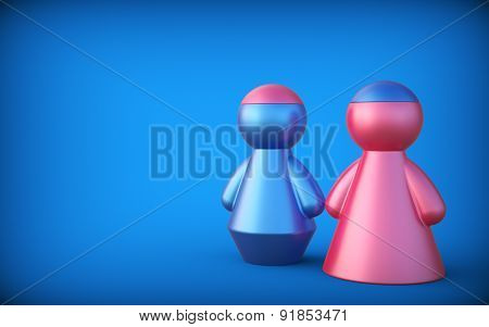 Abstract Concept With Figures Of Man And Woman. Exchange Brain. 3D Render.