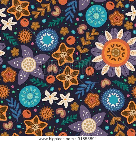 Scandinavian wild flowers seamless pattern
