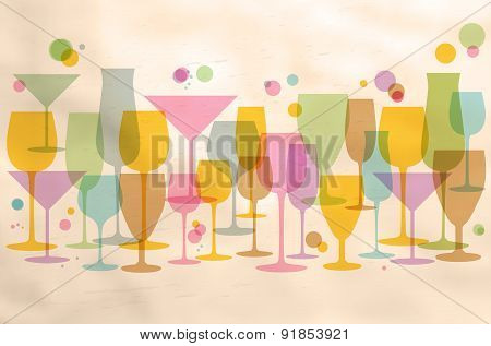 Abstract Glasses On Retro Background